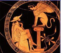 Edipo e la Sfinge -440 a.C circa -autore sconosciuto -luogo di ritrovamento: Italia -luogo di conservazione: Museo del Louvre, Parigi -ceramica a figure rosse