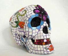 mosaic sugar skull (lol) - dia de los muertos - day of the dead - colorful skull art