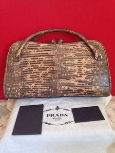 Authentic PRADA Vintage snakeskin Leather Carry Bag #PRADA #Vintage
