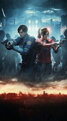 《Resident Evil 2 Remake / Leon S. Kennedy and Claire Redfield》 Resident Evil Remake, Resident Evil Franchise, Resident Evil Game, Battlefield 4, Video Game Art, Video Games, Zombies, Mundo Dos Games, Leon S Kennedy