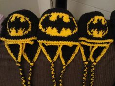 Free Crochet I'm Batman Hat Pattern! i have got to learn how to do this... ha good luck to my teacher- i can build a bird house in an hour but cant sow a thing!!!!