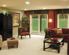 Lower level with a warm accent wall.