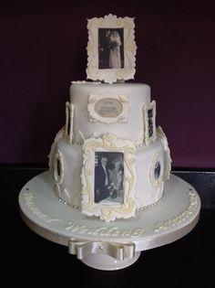 Marvelous Diamond Wedding Anniversary, Picture Frame Cake, Vintage