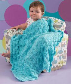 Lazy Wavy Baby Blanket | AllFreeKnitting.com