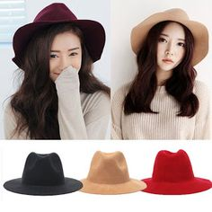 07c72fa9 2015 Winter Spring Fashion New 4 Colors Vintage Hats For Women Ladies  Floppy Wide Brim Flannel Felt Fedora Cloche Hat Cap
