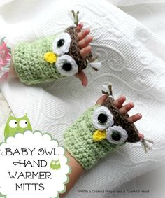With a Grateful Prayer and a Thankful Heart: Chloe Picks an Owl Hat, love these hand warmers - Tutorial  •☆Teresa Restegui http://www.pinterest.com/teretegui/☆•