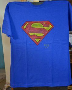 hand painted t-shirt., superman logo, and bird by MrsDarksidesArtWork on Etsy