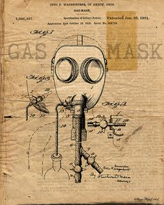 Gas Mask Vintage Patent Drawing Art Print. Click for purchase info and more patent drawing wall art...
