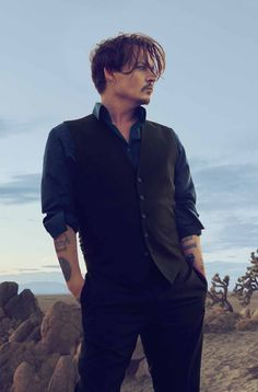 Johnny Depp in a photo shoot for Christian Dior
