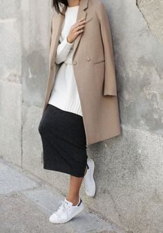 Sweater, coat, skirt + sneakers. Great casual work outfit.