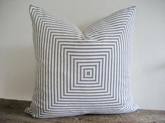 Pillow Cover Mitered Navy Blue Ticking by theCottageWorkroom, $44.00