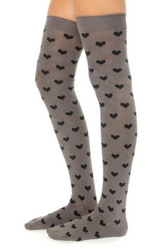 Tabbisocks Love to Love You Over the Knee Grey Heart Socks Lulu's $20 Warm Knit Thigh High Socks Gray Black Hearts Pastel Grunge Kawaii