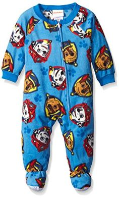 Paw Patrol Pajamas Marshall Fleece Zip Up Hood Footless Costume One Piece Pjs