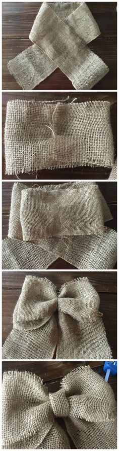 Country Crafts DIY Bows tutorial- How to make a burlap bow Burlap Flowers, Burlap Bows, Fabric Flowers, Burlap Curtains, Diy Flowers, Burlap Projects, Burlap Crafts, Diy Wreath, Burlap Wreath