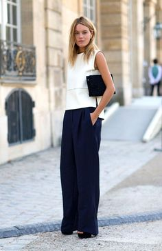 wide-leg navy pants but with a more fitted/LS shirt