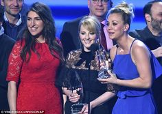'It means the world to us': Kaley Cuoco stunned in a purple gown as she thanked The Big Bang Theory fans at the People's Choice Awards on Wednesday