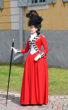 """Late 1770's riding habit in the style of Lady Wosley, 2012  """"The only tonish undress at present among the ladies of all ranks is a scarlet riding habit, faced of the colour that distinguishes the regiment of militia in which their husbands, their lovers, or their keepers now serve, at the different encampments.""""     General Evening Post June 13 1778, Diary of a Mantua Maker"""