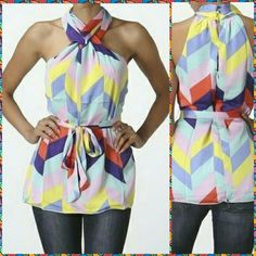 """LAST ONE! Color-block Halter Top LAST ONE IN STOCK!!!  NWT Beautiful chevron color-block print halter features a twist neckline with back buttons and matching waist belt. 95% Polyester, 5% Cotton, Inner lining.   Size:  (S) 32-34""""  PLEASE CONTACT WITH ANY QUESTIONS. Nico LA Tops Blouses"""