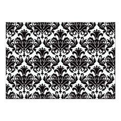 Cartões preto e branco do casamento tema damasco convite 8.89 x 12.7cm