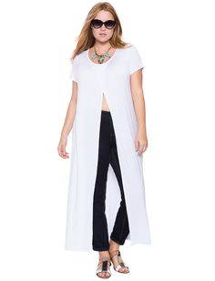 Short Sleeve Cross Front Maxi Tee White