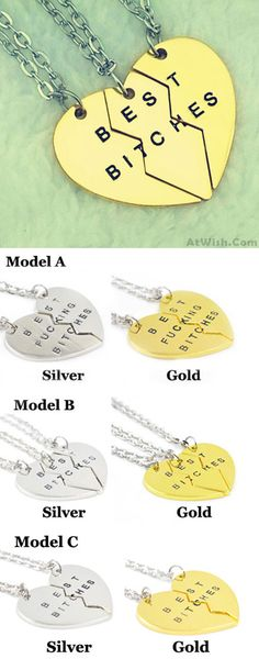 Division Heart BEST BITCHES Pendant 18K Gilded Girlfriends Necklaces for big sale ! #bitches #heart #necklace #pendant