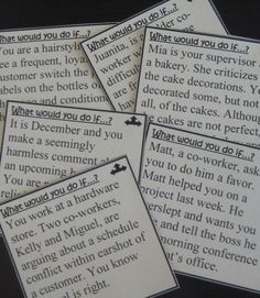 """Workplace dilemmas """"What Would You Do If…?"""" cards are an interactive way for students to brainstorm solutions to real-life ethical dilemmas & employment situations. Fun, relevant activity prepares CTE, business, co-op, vocational, or life skills students for real-world job scenarios. Option: Use the cards as writing prompts, research topics, or daily warm-up questions."""