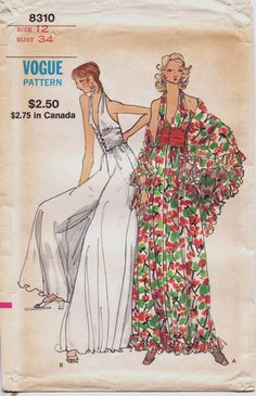 Vintage 70s Vogue Sewing Pattern 8310 Womens Lounge by CloesCloset, $30.00