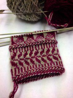 Jag har ägnat en hel helg åt tvåändsstickning igen, denna gång tillsammans med mamma och en hel drös andra mysiga människor. Eftersom jag är... Knitted Mittens Pattern, Knit Mittens, Knitting Socks, Knitted Hats, Knitting Stiches, Knitting Charts, Knitting Patterns, Fair Isle Knitting, How To Purl Knit