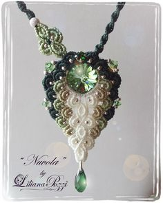Macrame necklace available in various colors, its design makes it suitable for various occasions.  The tutorial consists of 16 pages and