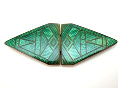 c1930 ORIGINAL ANTIQUE ART DECO GREEN GUILLOCHE ENAMEL ON COPPER BELT BUCKLE