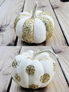 Top 18 Elegant & Unique Halloween Pumpkin Decor – Easy Holiday Design Project - Way To Be Happy White Pumpkins, Painted Pumpkins, Fall Pumpkins, Halloween Pumpkins, Glitter Pumpkins, Mini Pumpkins, Holidays Halloween, Halloween Crafts, Halloween Decorations