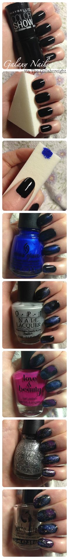 Galaxy Nails - this seems easy enough! I have all the colors too but we'll see how it goes....