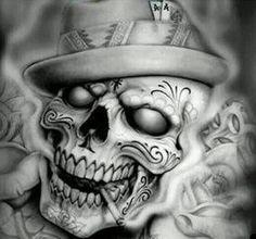 "Chicano arte ""Pinche Trump Puto"" que vaya con la Muerte. Gangsta Tattoos, Chicano Tattoos, Skull Tattoos, Body Art Tattoos, Sleeve Tattoos, Tattoo Design Drawings, Skull Tattoo Design, Tattoo Sketches, Tattoo Designs"