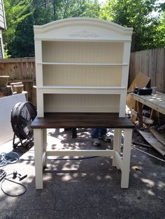 Hutch top with a farmhouse style table