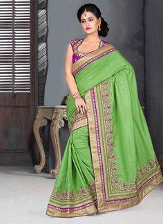 Green Embroidered Manipuri Silk Saree