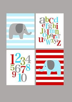 Elephant, ABC, and numbers - set of four - red blue green gray - nursery playroom kindergarten - digital prints - 8x10 on A4 via Etsy