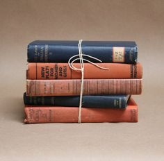 Vintage Collection of Books- Blue and Coral Home Decor- Decorative Books. $22.00, via Etsy.