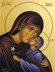 An icon of St. Anne, shown here with her daughter, the Holy Theotokos.   Hear our prayer.
