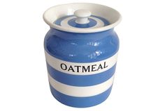 1910-1950 Cornishware Oatmeal Canister from England