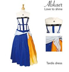 Tardis, Docter Who, Cosplay dress.  Hand made by me. Feel free to contact me for orders. Also availible with matching jewelry.  www.alskaer.com