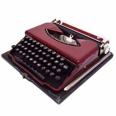 Super Rare Maroon Matous Portable Typewriter Vtg
