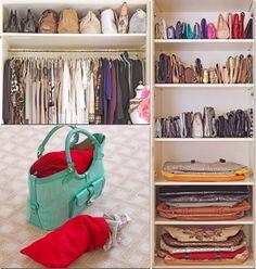como organizar bolsas no closet