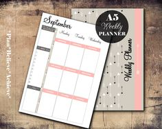 A5 Weekly Planner Printable Week On 2 Pages Filofax Inserts Instant Download by PlanBelieveAchieve on Etsy https://www.etsy.com/listing/228969018/a5-weekly-planner-printable-week-on-2