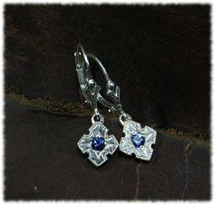 Sapphire Cross dangle earrings by SomethingFine on Etsy