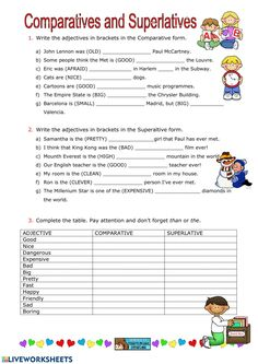 Adjective comparation Language: English Level/group: School subject: English as a Second Language (ESL) Main content: Degrees of Comparison of Adjectives Other contents: Teaching English Grammar, English Worksheets For Kids, Grammar Lessons, English Vocabulary, English Lessons, Learn English, Comparative Adjectives Worksheet, Degrees Of Comparison, Pasado Simple
