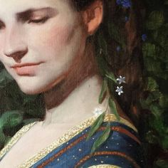 """Detail of """"Emma, Study for Boundless Heart"""" oil on linen"""