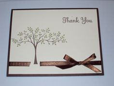 Stampin Up... so simple & elegant.  I like the way the ribbon threads through the card layer.