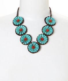 Look at this #zulilyfind! Turquoise & Coral Flower Bib Necklace by PANNEE JEWELRY #zulilyfinds