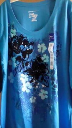 Women's Glitzy Tee, Size 3X, JMS, L/S V Neck, Bright Blue/Black Velvet/Silver! #JustMySize #GraphicTee