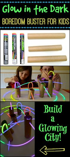 Glow in the Dark Boredom Buster This glow in the dark building activity keeps kids busy on a rainy day, and it only uses a few materials. Indoor Activities, Craft Activities For Kids, Summer Activities, Projects For Kids, Boredom Busters For Kids, Summer Fun, Summer Bucket, Business For Kids, Kids Playing